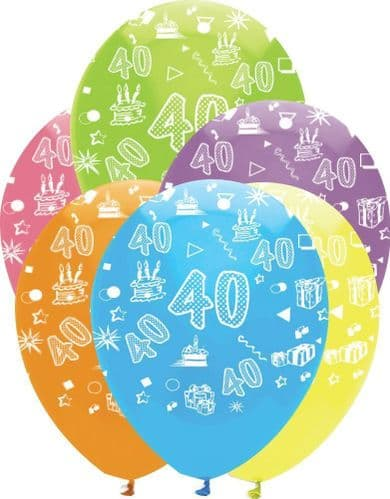 """Age 40 Bright Mix Latex Balloons All Round Print 6 x 12"""" per pack"""