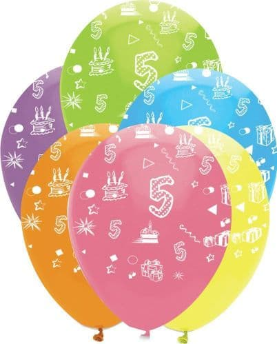 """Age 5 Bright Mix Latex Balloons All Round Print 6 x 12"""" per pack"""