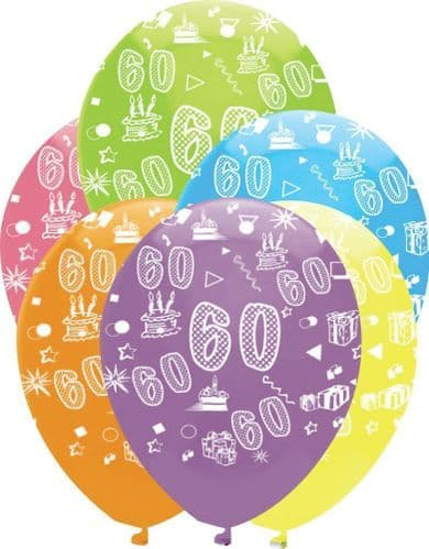 """Age 60 Bright Mix Latex Balloons All Round Print 6 x 12"""" per pack"""