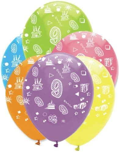 """Age 9 Bright Mix Latex Balloons All Round Print 6 x 12"""" per pack"""