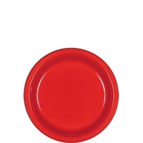Apple Red Plastic Plates  - 17.7cm  20 per pack.