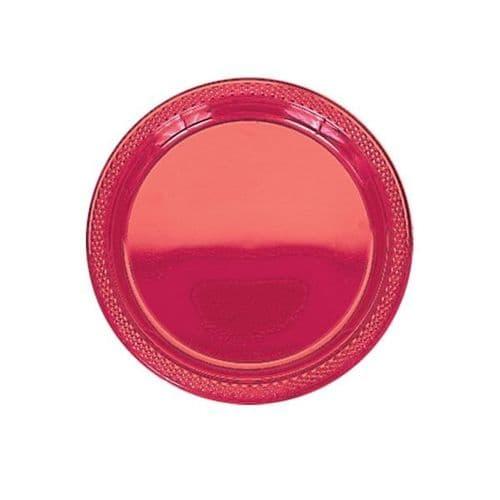 Apple Red Plastic Plates 22.8cm  20 per pack.