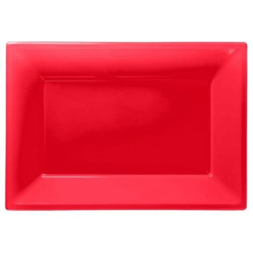Apple Red Plastic Serving Platters pack of 3.