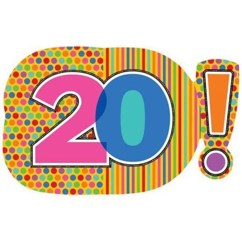 "Birthday Dots & Stripes 20! SuperShape Foil Balloon 29"" x 18"""
