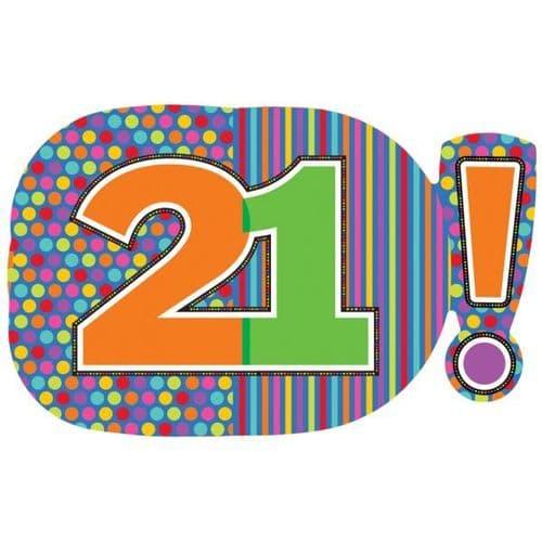 "Birthday Dots & Stripes 21! SuperShape Foil Balloon 29"" x 18"""