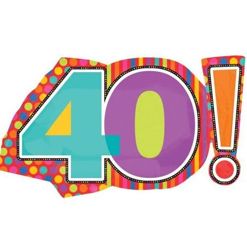 "Birthday Dots & Stripes 40! SuperShape Foil Balloon - 29"" x 18"""