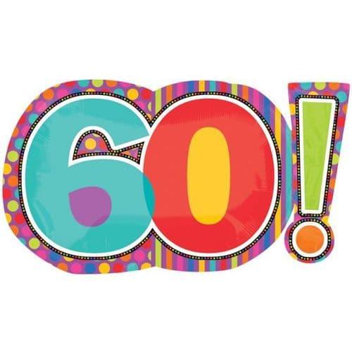 "Birthday Dots & Stripes 60! SuperShape Foil Balloon - 29"" x 18"""
