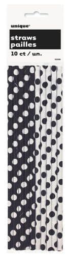 Black Dots Paper Straws 10's