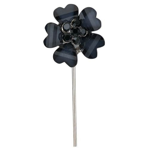 Black Flower with Diamante Centre on Stem - dia. 20mm - pack of 6