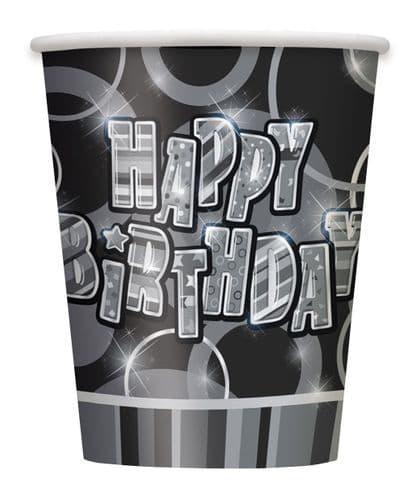 Black Glitz Black/Silver 9oz Cups 8's