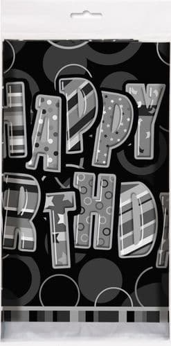 "Black Glitz Happy Birthday Tablecover Plastic 54"" x 84"""