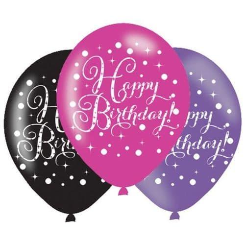 "Black & Pink Birthday Latex Balloons 11"" x 6 per pack."