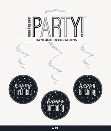 "Black & Silver Glitz Happy Birthday Hanging Swirls 32"" Long"