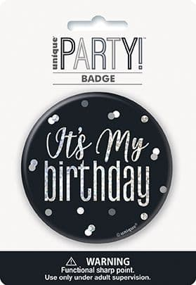 Black & Silver Glitz 'It's My Birthday' Badge