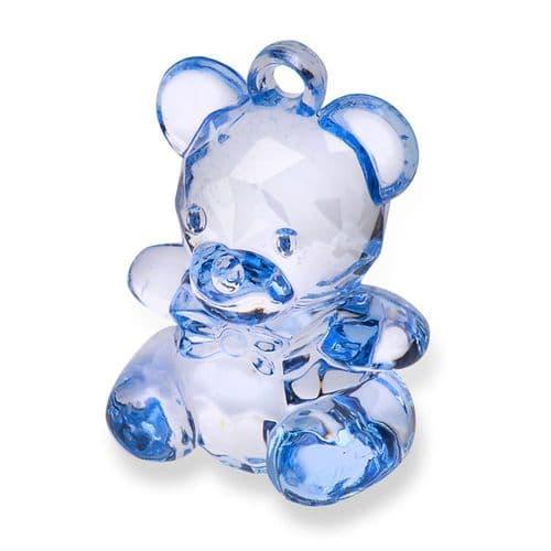 Blue Acrylic Teddy Bear - height 45mm - 6 in pack