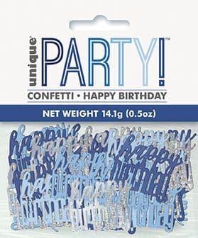 Blue & Silver Glitz Happy Birthday Foil Confetti 0.5oz
