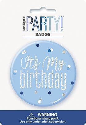 Blue & Silver Glitz 'It's My Birthday' Badge