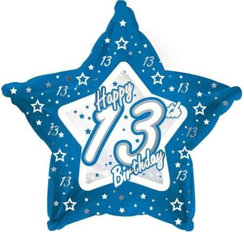 Blue Stars Age 13 Foil Balloon