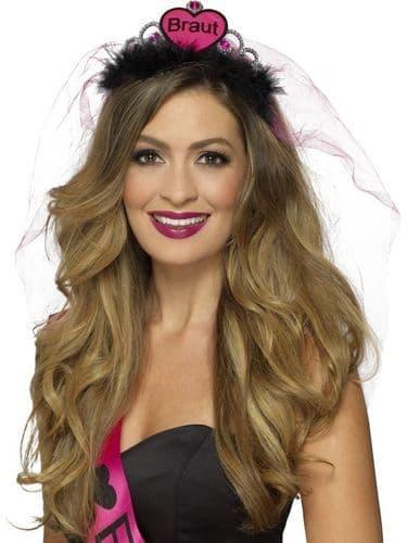 Braut Tiara - Pink & Black