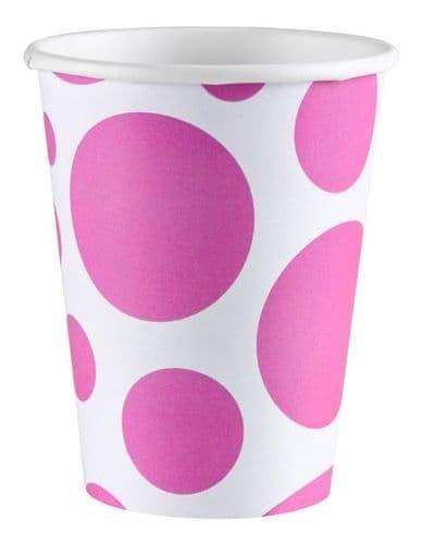 Bright Pink Dots Paper Cups 266ml 8 per pack.