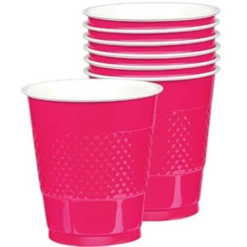 Bright Pink Plastic Cups 355ml 20 per pack.