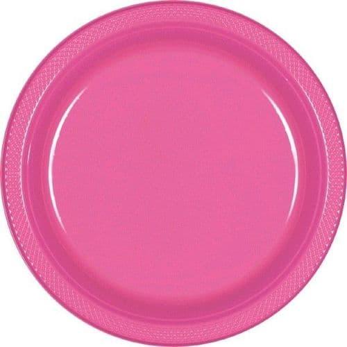 Bright Pink Plastic Plates 23cm  20 per pack.