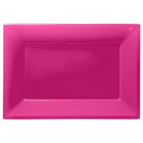 Bright Pink Plastic Serving Platters pack of 3.