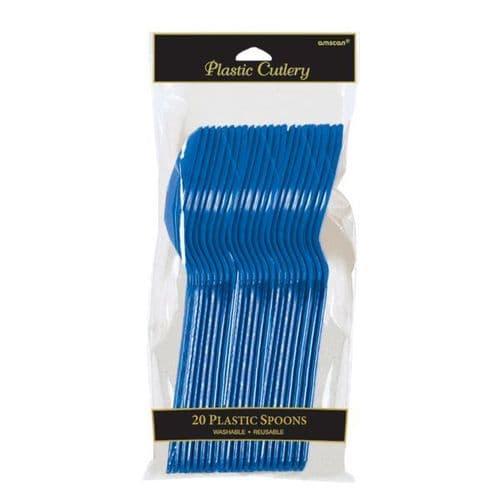 Bright Royal Blue Plastic Spoons 20 per pack.