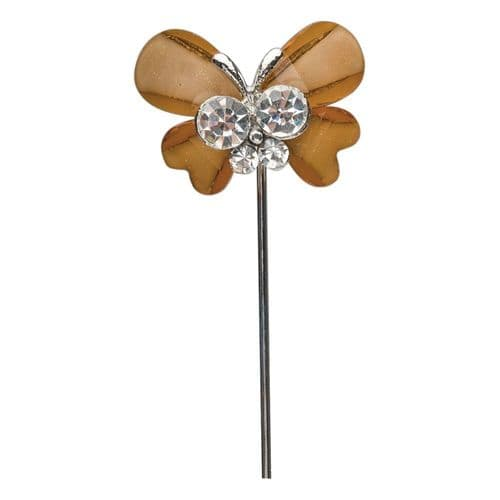 Brown Butterfly with Diamante Centre on Stem - pack of 6