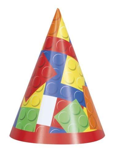 Building Blocks Bithday Party Hats 8's