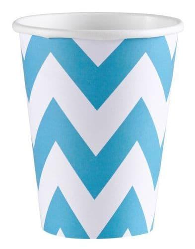 Caribbean Blue Chevron Paper Cups, 256ml 8 per pack.