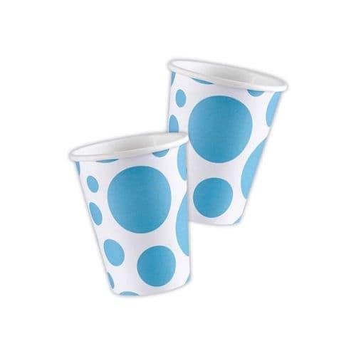 Caribbean Blue Dots Paper Cups 266ml 8 per pack.