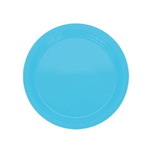 Caribbean Blue Plastic Plates - 17.7cm  20 per pack.