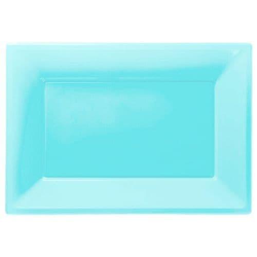 Caribbean Blue Plastic Serving Platters pack of 3.