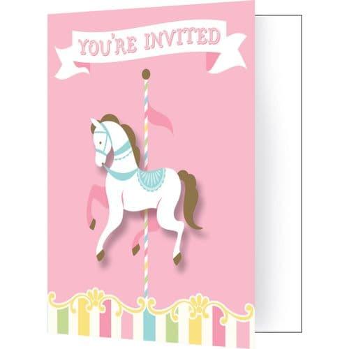 Carousel Baby Shower 8 Invitations & Envelopes