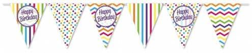 Chevron Stripe Happy Birthday Paper Flag Bunting 12ft