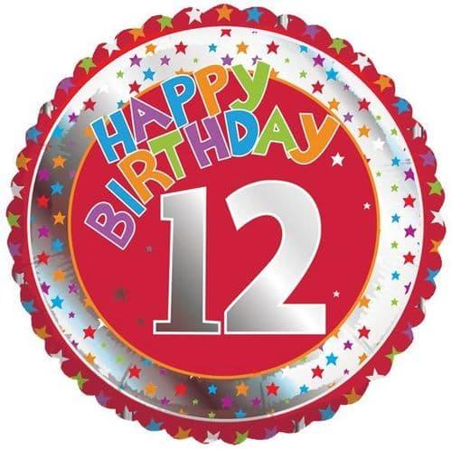 Children's Milestone Age 12 Foil Balloon