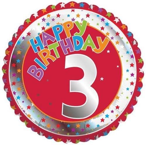 Children's Milestone Age 3 Foil Balloon