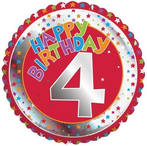 Children's Milestone Age 4 Foil Balloon