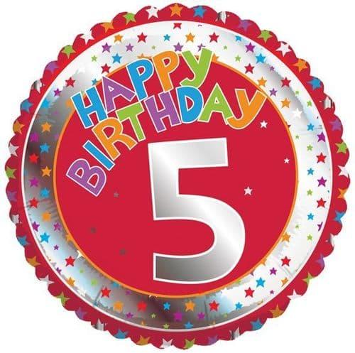 Children's Milestone Age 5 Foil Balloon