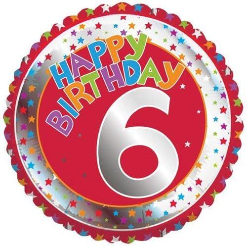Children's Milestone Age 6 Foil Balloon