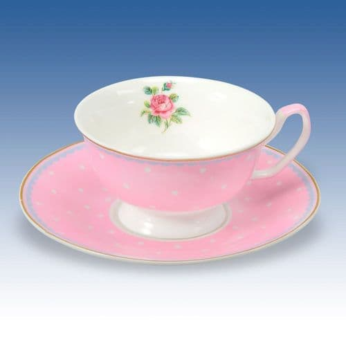China Cup & Saucer - Flower and Dots Pink