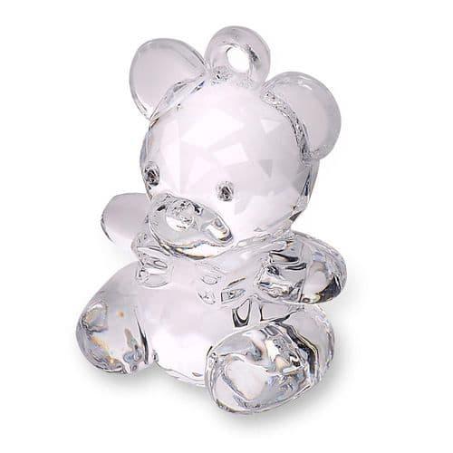 Clear Acrylic Teddy Bear - height 45mm - 6  in pack