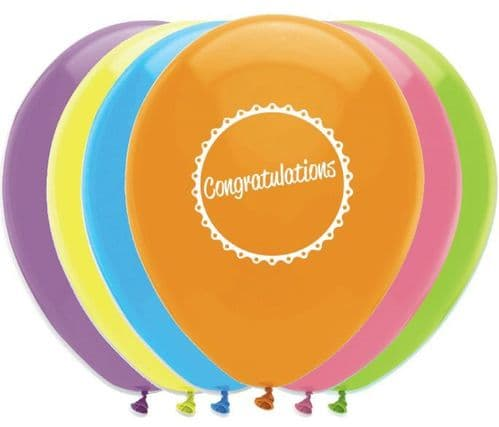 """Congratulations Latex Balloons 2 Sided Print 6 x 12"""" per pack"""