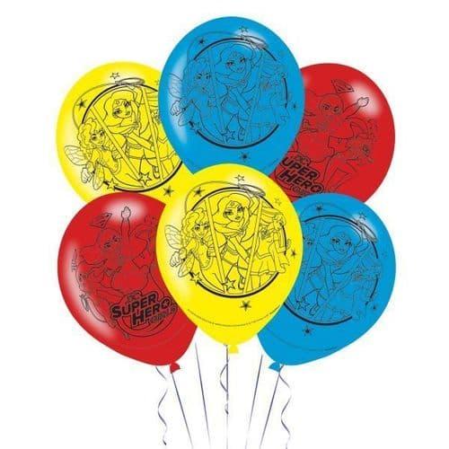 "DC Super Hero Girls 4 Sided Latex Balloons 11""/28cm 6's"