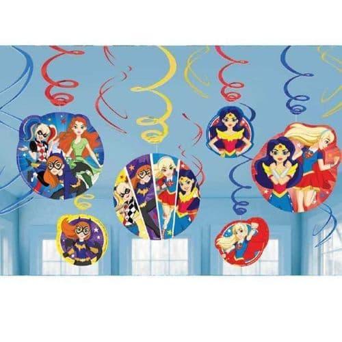 DC Super Hero Girls Hanging Swirl Decorations 12's