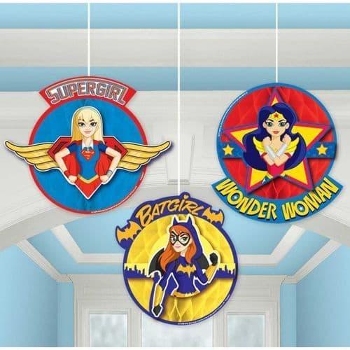 DC Super Hero Girls Honeycomb Decorations 3's