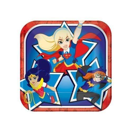 DC Super Hero Girls Square Paper Plates 18cm 8's