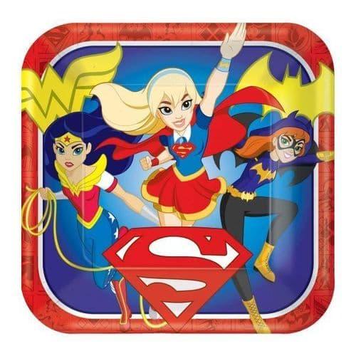 DC Super Hero Girls Square Paper Plates 23cm 8's