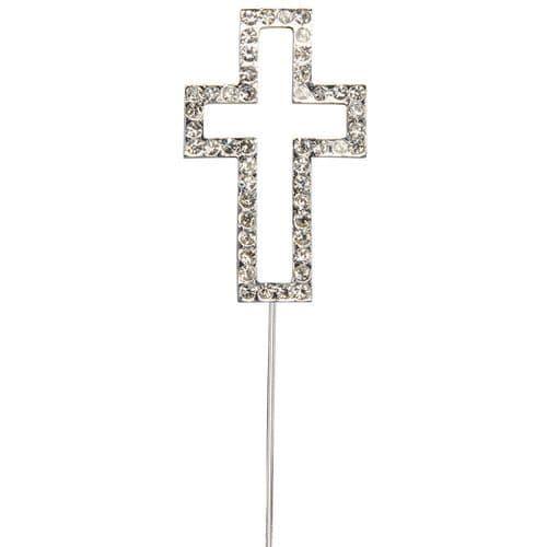 Diamante Cross on Silver Stem